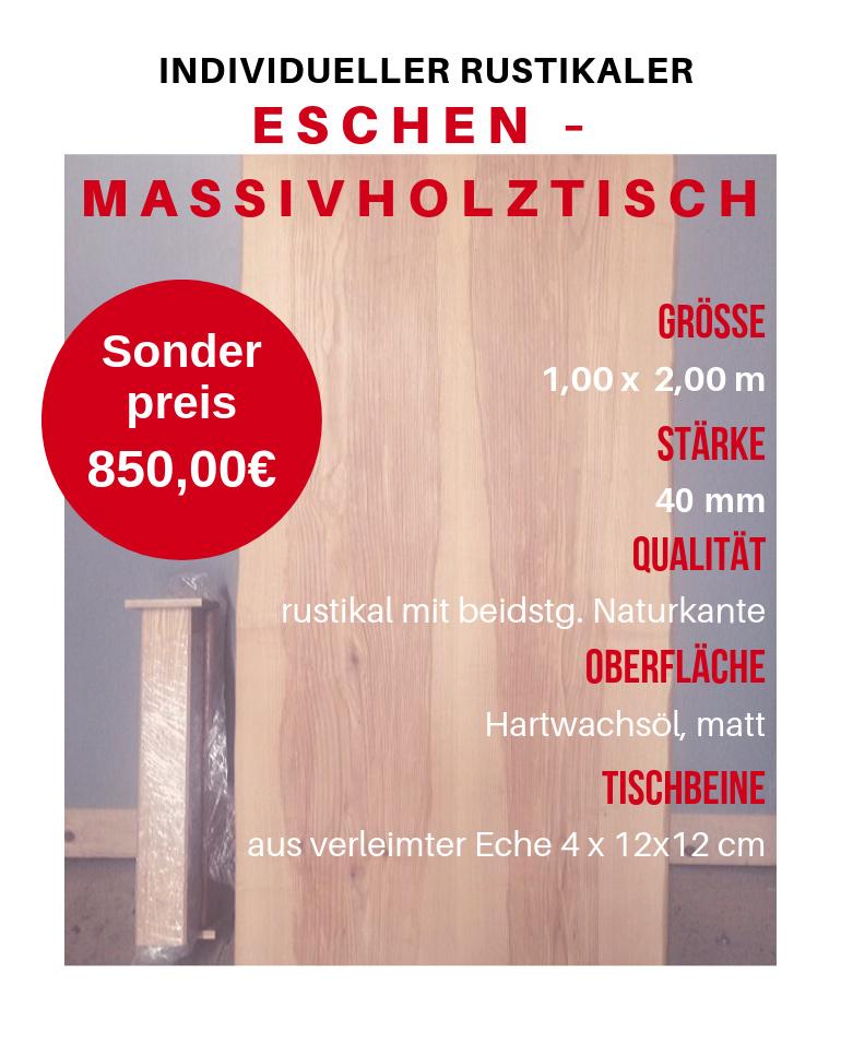 Individueller rustikaler Eschen – Massivholztisch